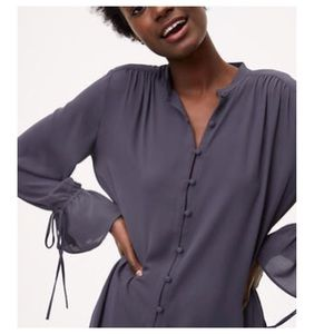 LOFT GREY BLOUSE BELL SLEEVES